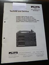 Original Service Manual  Metz Hifi  Mega  AX 4980 SX4981 CX 4982 TX4983 TX4984