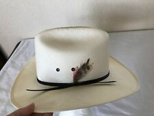 Bee Cool Off White Straw Cowboy Western Hat Feather Youth XL or Womens Small