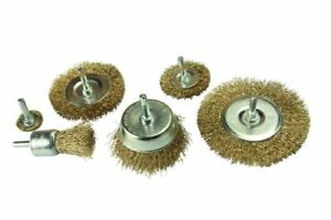 ROTARY WIRE WHEEL & CUP BRUSH 6 PIECE SET 6MM SHANK USE WITH POWER DRILL 2151