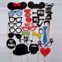 31PCS LOUS DIY Mask Photo Booth Props Mustache On A Stick Wedding Birthday KJ