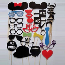 31PCS LOUS DIY Mask Photo Booth Props Mustache On A Stick Wedding Birthday KJ