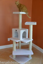 """57"""" Armarkat Cat Tree Condo Bed Perch Play House Scratching Post Ivory B5701"""