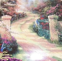 "Thomas Kinkade 1996 2Pc Ceramic Mug  3.75"" ~Coaster 4"" Spring Gate Floral Rd"