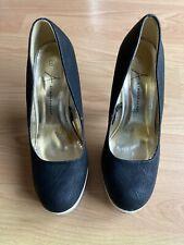 Ladies Black & White High Heel Platform Shoes Size 7(41)-Atmosphere