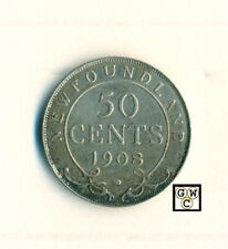 1908 Canada New Foundland 50 Cents Coin ; XF