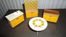 VINTAGE 1970's LUNDBY BARTON DOLLS HOUSE RETRO KITCHEN TABLE UNITS JOB LOT