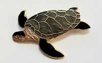 Vintage Cloisonne Enamel Signed Fish&Crown Sea Turtle Brooch