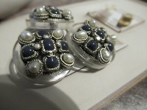 CHANEL 3 METAL CC LOGO FRONT BLUE GLASS PEARL BUTTONS 20MM  NEW lot 3