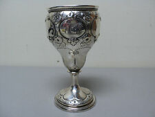 FABULOUS MID-19th C. AMERICAN COIN SILVER CHASED GOBLET / CHALICE, 176 grams