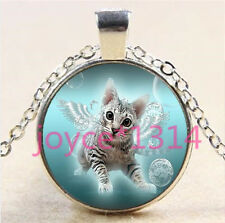Vintage Angel Cat Cabochon Tibetan silver Glass Chain Pendant Necklace #6184