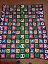 VINTAGE HAND CROCHETED WOOL GRANNY SQUARE AFGHAN BLACK MULTI 60 x 76