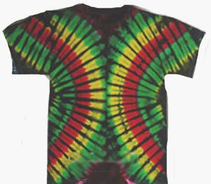 Size SMALL RASTA COLORS DOUBLE RAINBOW hand-dyed TIE DYE T-SHIRT Gildan
