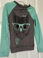 Mudd Long Sleeve Pullover Sweatshirt Tee Shirt Top Girls 7-8 Green Owl Graphic