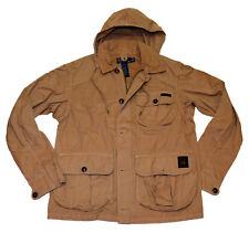 Polo Ralph Lauren Mens Hooded Hoodie Field Cargo Jacket Coat Khaki Brown Medium