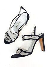 Manolo Blahnik Black Silk Crystal Strappy Evening Sandals Heels Shoes Size 38