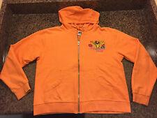 Disney rainforest café youth l hooded sweatshirt l/s orange embroidered souvenir