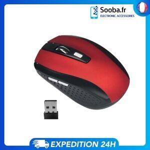 Souris Optique Wireless PC Fixe et Portable Sans Fil 2.4G Mac Windows USB Rouge