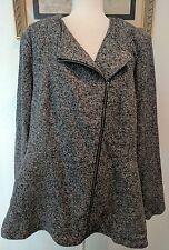 Torrid Womens Coat 3 Zipper Ruffle Bottom Plus Size Cape Black Gray Classic L8
