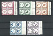 Ghana 1958 Sc# J6-10 set Postrage due Extra perf and line on margin blocks 4 MNH