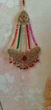MUTI-COLOURED INDIAN HEAD HAIR TIKKA HEADPIECE JHUMAR INDIAN JEWELRY PARTY WEAR