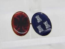 AUTH CARTIER 18k 750 Yellow Gold Blue Red Enamel Crest Oval Cuff Link ONLY ONE