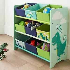 Kids Dinosaur 9 Tub Storage Drawers Perfect Organiser Kid Clothes Crafts & Toys