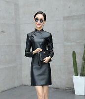Retro Chinesischer Stil Cheongsam Damen Schlank Lederrock Stehkragen Midi Kleid