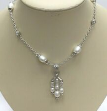 Judith Ripka Sterling Pearl Necklace W/ Pearl Enhancer 18 Inches