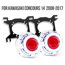 KT LED Angel Eyes HID Projector for Kawasaki Concours 1400GTR ZG1400 08-16 Red