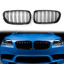 Double Line Glossy Black Front Hood Kidney Grill Grille For BMW F10 F18 10-16 AU