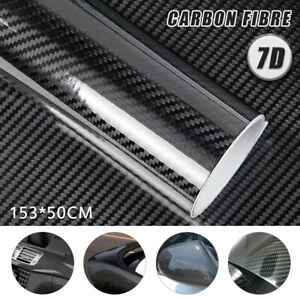 7D 1.53M x 50cm Gloss Black Carbon Fibre Fiber Vinyl Car Wrap Air Release Film
