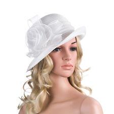 Solid Color 1920s Womens Summer Organza Bowler Sun Hat Derby Tea Party A267