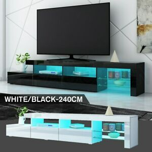 240cm TV Stand Cabinet LED Entertainment Unit Gloss Wooden 3 Drawers White Black