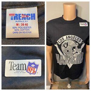 Vintage Los Angeles Raiders Trench Shirt Size MEDIUM Single Stitch Oakland NOS