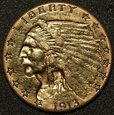 1913 U.S. Indian Head $2.50 Quarter Eagle Gold Coin
