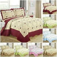 Embroidered Quilted Bedspread Bed Throw 3 Piece Bedding Set Single Double & King