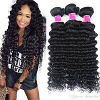 Bresilian Weave in Bundle Deep Wave Curly Virgin Hair Weave Bundles Human Hair