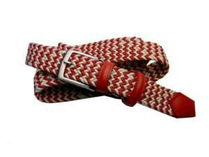 Cintura uomo in pelle rossa e corda intrecciata bianca beige cinture made Italy