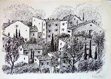 Pierre ZÉNOBEL (1905-1996) Dessin Menton 89/90 Ecole de Paris Art Déco Fauvisme