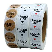 """1"""" Round Thank You Stickers with Red Heart and Black Heart Total 3 Rolls"""