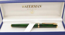 WATERMAN PREFACE GREEN  MARBLE & GOLD FOUNTAIN PEN NEW IN BOX BROAD PT 18K GOLD