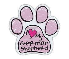 Pink Scribble Paws: I LOVE MY GERMAN SHEPHERD   Dog Paw Shaped Car Magnets