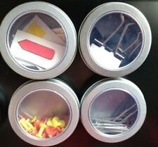 Lot Of 4 Small Magnetic Storage Container Fridge Office Supply Tins Only