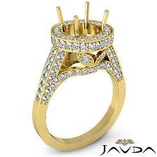Classic Round Semi Mount 1.3Ct Diamond Engagement Ring 18k Yellow Gold Halo Pave