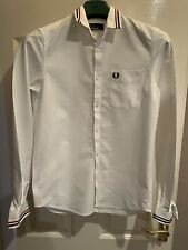 Genuine Men's Fred Perry Shirt Size Small Excellent Condition White Cotton