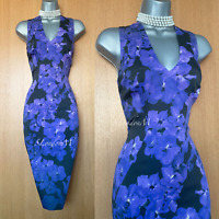 KAREN MILLEN UK 12 Purple Floral Stretch Satin Cocktail Race Party Pencil Dress