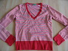 BENETTON schöner gestreifter Pullover V-Ausschnitt rot weiß Gr. M NEUw. GA1015