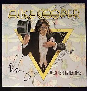 ALICE COOPER SIGNED IN BLACK  WELCOME TO NIGHTMARE USA VINYL LP ALBUM RECORD
