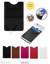 Universal Phone Genuine Real Leather Credit Card Pouch Sleeve Holder 3M Adhesive