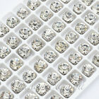 3mm-10mm Glass 72pcs Round Clear Crystal Pointed Back Chaton Sew On Rhinestones